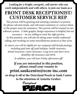 Front Desk Receptionist/Customer Service Rep