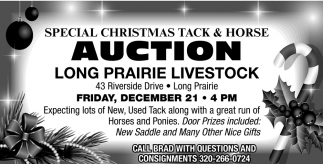 Special Christmas Tack & Horse Auction