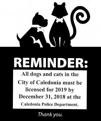 All Dogs and Cats in the City of Caledonia Must be Licensed for 2019