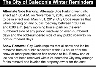 The City of Caledonia Winter Reminders