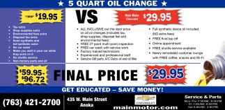 5 Quart Oil Change