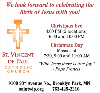 We Look Forward to Celebrating the Birth of Jesus with You!