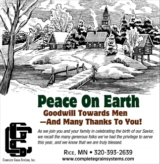 Peace on Earth Goodwill Towards Men - and Many Thanks to You!