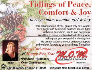 Tidings of Peace. Comfort & Joy