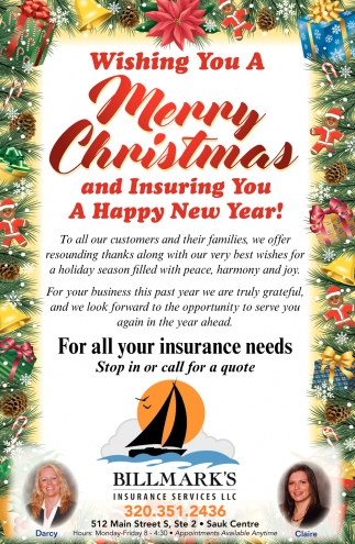 Wishing You a Merry Christmas and Insuring You a Happy New Year!