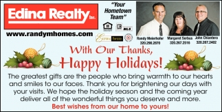 With Our Thanks, Happy Holidays!