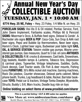 Annual New Year's Day Collectible Auction