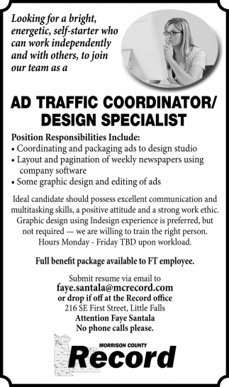 Ad Traffic Coordinator/Design Specialist