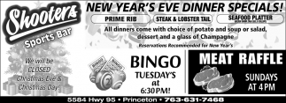 New Year's Eve Dinner Specials!