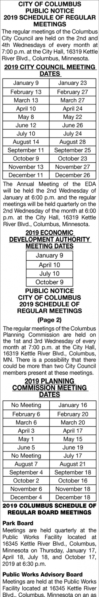 2019 Schedule of Regular Meetings