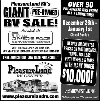 Giant Pre Owned Rv Sale Pleasureland Rv Center Brainerd Mn All of us at pleasureland rv want to wish you a happy thanksgiving day! ads