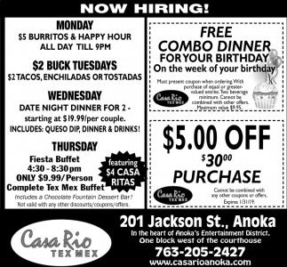 FREE Combo Dinner for Your Birthday