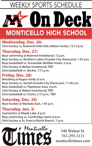 Weekly Sports Schedule