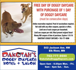FREE Day of Doggy DAycare with Purchase of 1 Day of Doggy Daycare