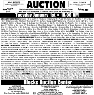 Auction Tuesday January 1st