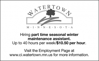 Hiring Part Time Seasonal Winter Maintenance Assistant