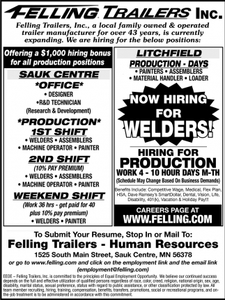Now Hiring for Welders!