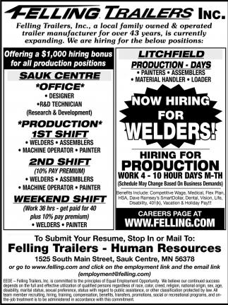 Now Hiring for Welders!