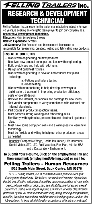Research & Development Technician