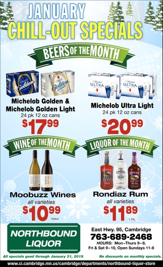 January Chill-out Specials