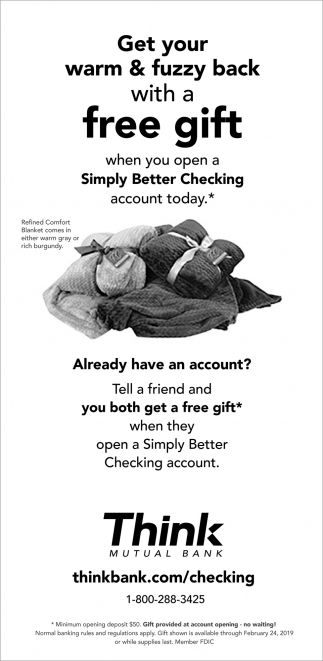Get Your Warm & Fuzzy Back with a FREE Gift when You Open a Simply Better Checking Account Today