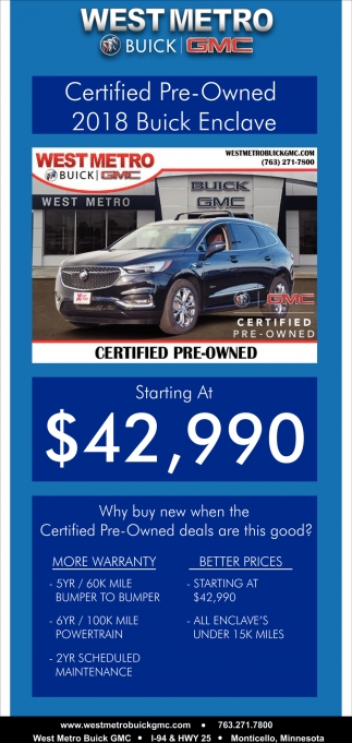 Certified Pre-Owned 2018 Buick Enclave