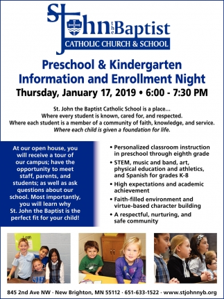 Preschool & Kindergarten Information and Enrollment Night