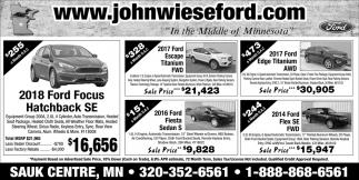 2018 Ford Focus Hatchback SE, John Wiese Ford, Sauk Centre, MN