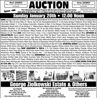 Auction Sunday January 20th
