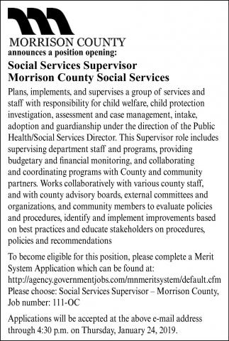 Social Services Supervisor