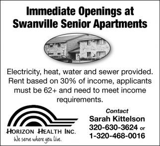 Immediate Openings at Swanville Senior Apartments