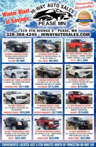 Winter Blast of Savings, Hi-Way Auto Sales, Pease, MN