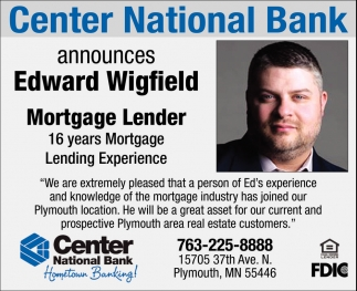 Center National Bank Announces Edward Wigfield