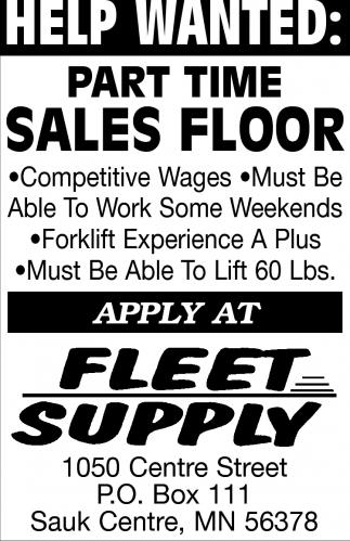 Part time Sales Floor