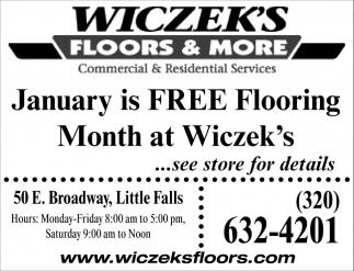 January is FREE Flooring Month at Wiczek's