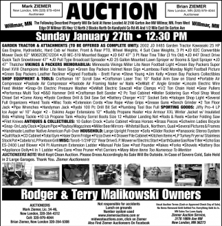 Auction Sunday January 27th