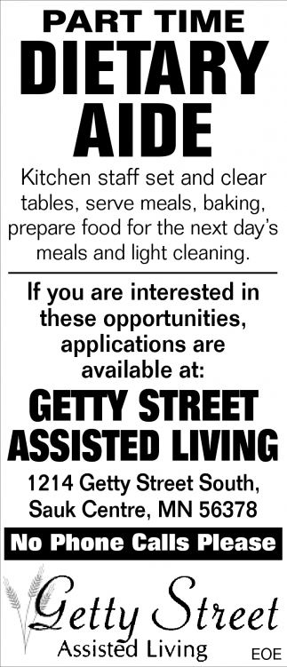 Part Time Dietary Aide