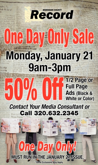 One Day Only Sale