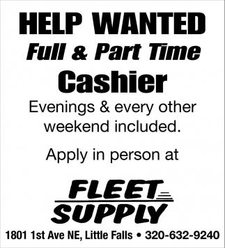 Full & Part Time Cashier