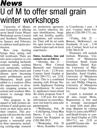 U of M to Offer Small Grain Winter Workshops
