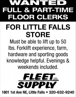 Full & Part-time Floor Clerks