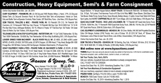 Construction ,Heavy Equipment, Semi's & Farm Consignment