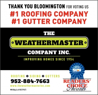 Thank You Bloomington for Voting Us #1 Roofing Company & #1 Gutter Company