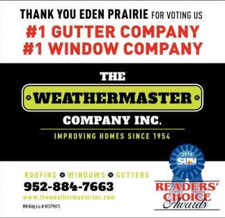 Thank You Eden Prairie for Voting Us #1 Roofing Company & #1 Gutter Company