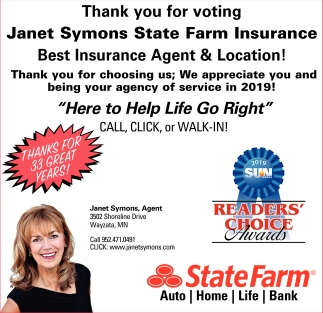 Thank You for Voting Janet Symons State Farm Insurance Best Insurance Agent & Location!