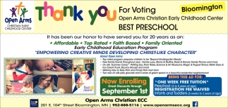 Thank You for Voting Open Arms Christian Early Childhood Center Best Childcare