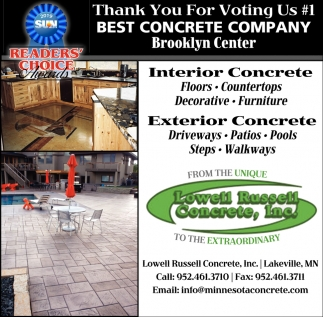 Thank You for Voting Us #1 Best Concrete Company Brooklyn Center