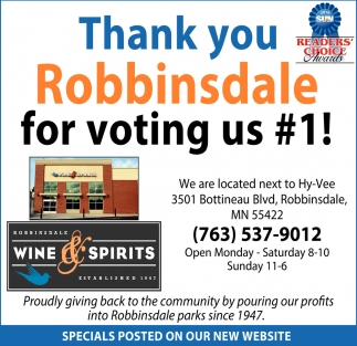 Thank You Robbinsdale for Voting Us #1!