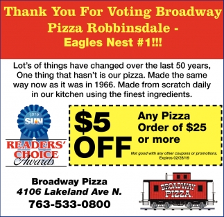 Thank You for Voting Broadway Pizza Robbinsdale - Eaglest Nest #1!