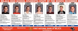 Milaca High School Students/Staff of the Month December